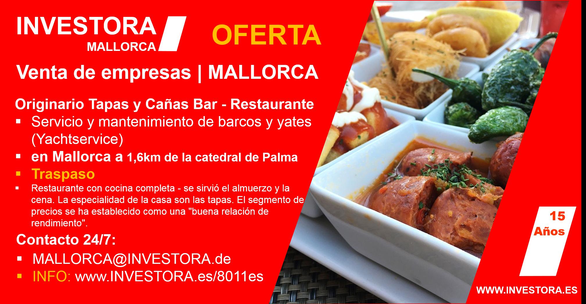 INVESTORA MALLORCA Tapas Bar Restaurante Traspaso